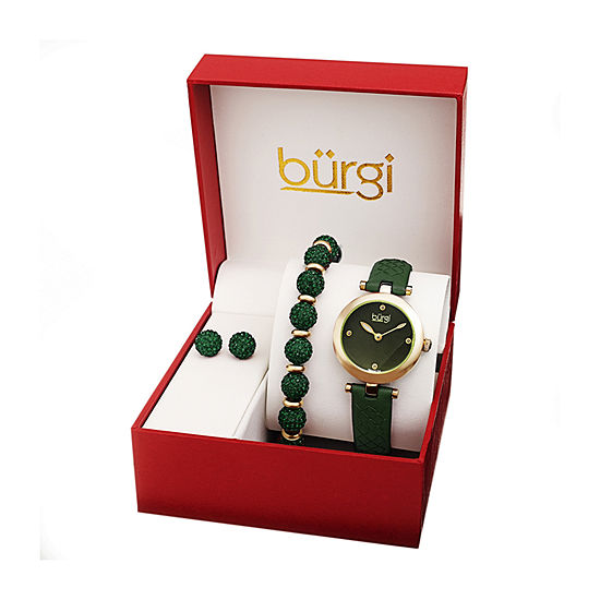 Burgi Womens Diamond Accent Crystal Accent Green Leather 3-pc. Watch Boxed Set-B-245gn-S
