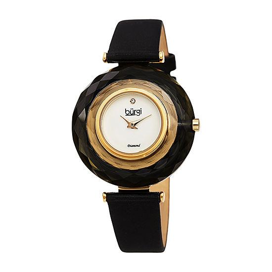 Burgi Womens Black Strap Watch B 252bk