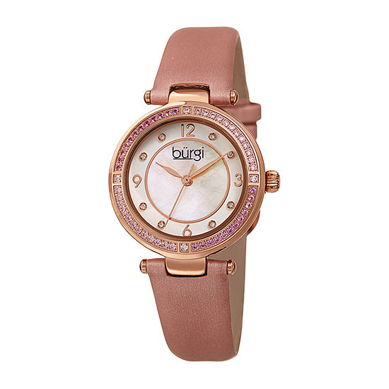 Burgi Womens Crystal Accent Pink Leather Strap Watch-B-251pk
