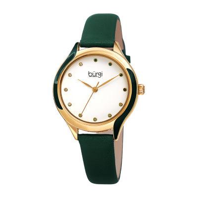 Burgi Womens Green Strap Watch-B-248gn