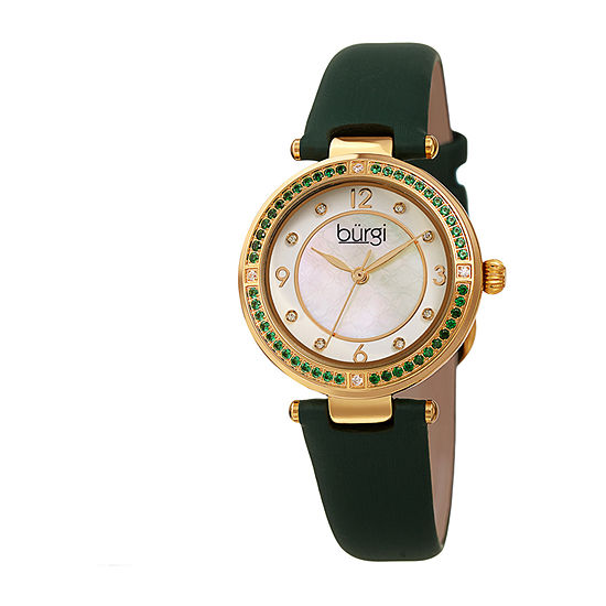 Burgi Womens Green Strap Watch-B-251gn