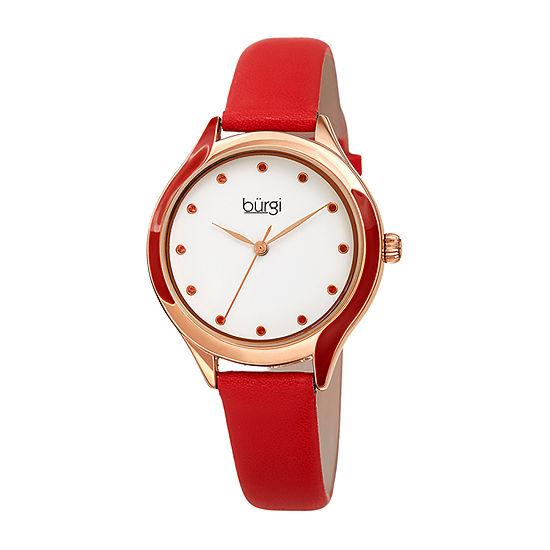 Burgi Womens Red Strap Watch-B-248rd