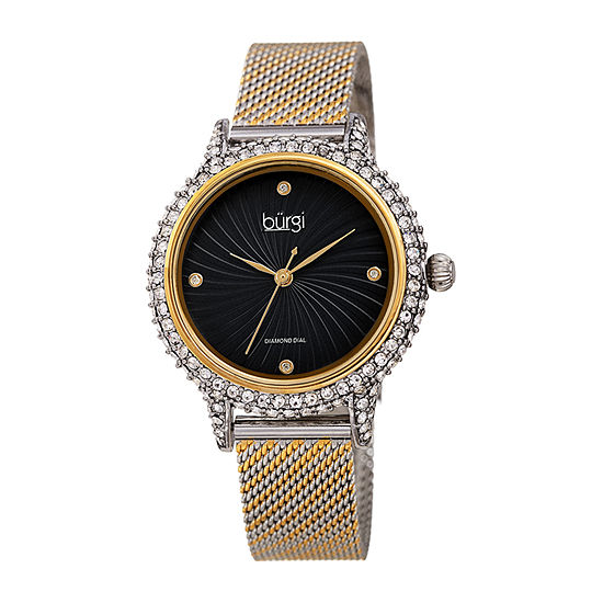 Burgi Womens Diamond Accent Crystal Accent Two Tone Stainless Steel Bracelet Watch-B-250ttg