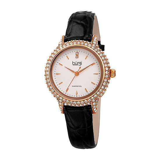 Burgi Womens Black Strap Watch B 249bk