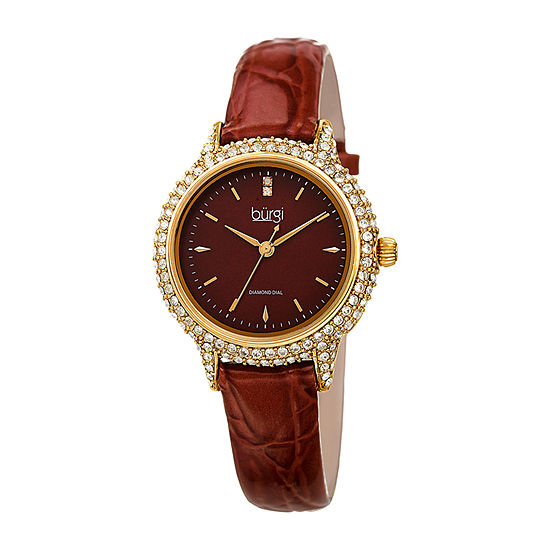 Burgi Womens Diamond Accent Crystal Accent Brown Leather Strap Watch-B-249br