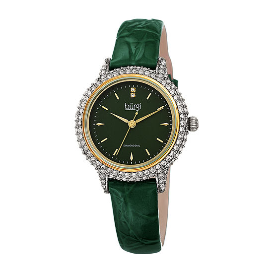 Burgi Womens Diamond Accent Crystal Accent Green Leather Strap Watch-B-249gn