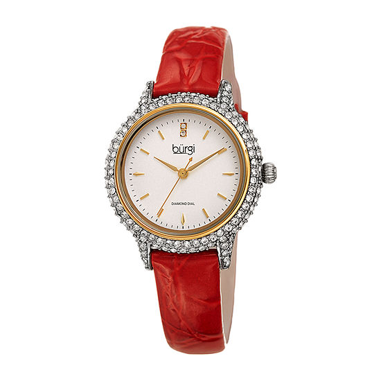 Burgi Womens Red Strap Watch-B-249rd