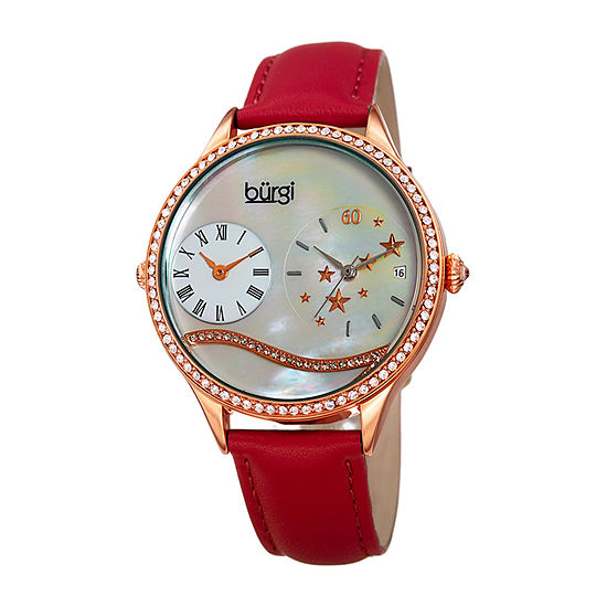 Burgi Womens Red Leather Strap Watch-B-184rd