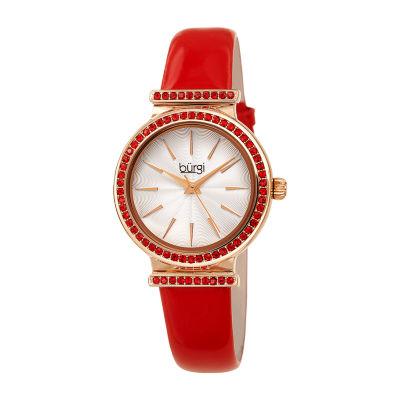Burgi Womens Red Strap Watch-B-243rd