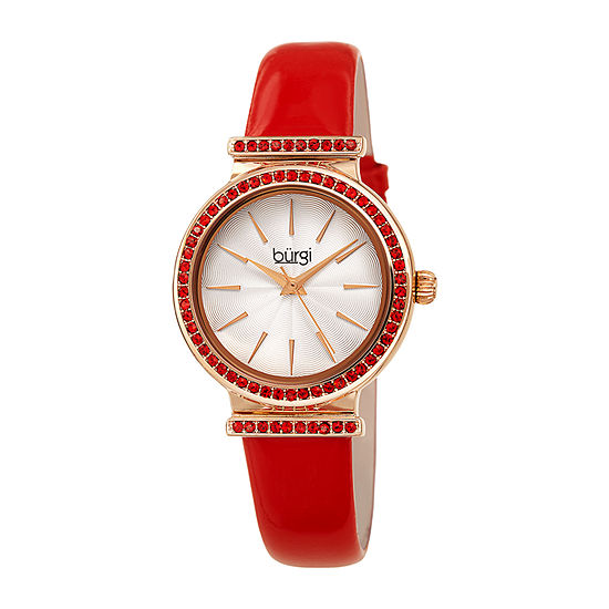 Burgi Womens Crystal Accent Red Leather Strap Watch-B-243rd