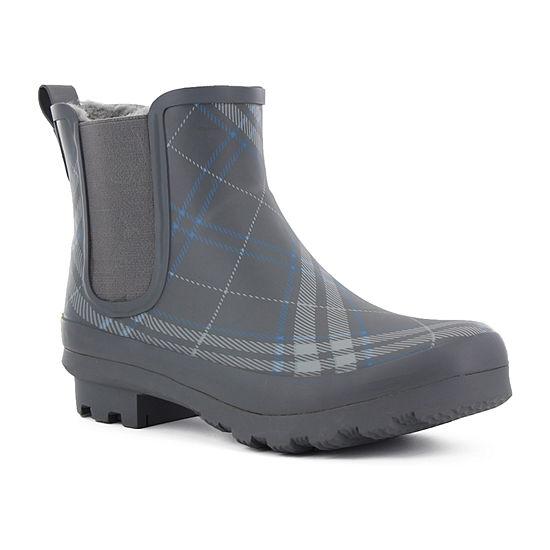 Western Chief Womens Dover Plaid Chelsea Rain Boots Waterproof Flat Heel