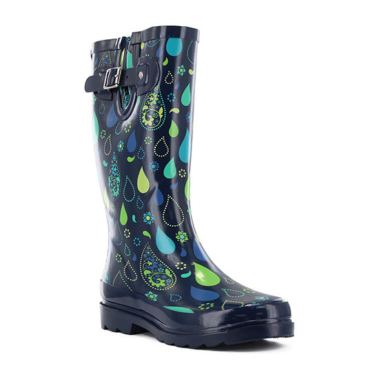Western Chief Womens Pouring Paisley Rain Boots Waterproof Flat Heel