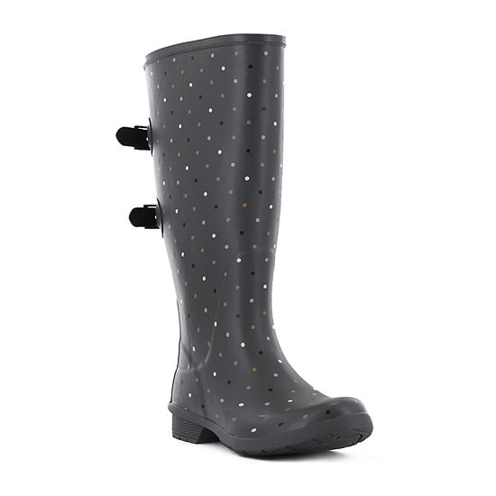 Chooka Fashion Womens Versa Tonal Dot Rain Boots Waterproof Flat Heel