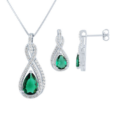 Simulated Green Emerald Jewelry Set