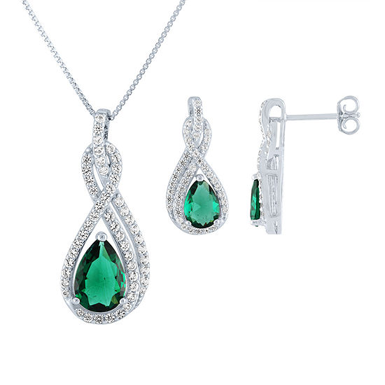 Simulated Green Emerald Sterling Silver Jewelry Set