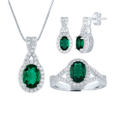 Lab Created Green Emerald Sterling Silver Jewelry Set