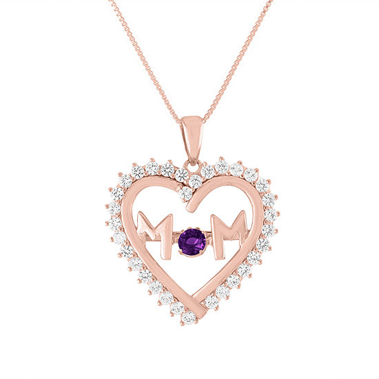 Womens Genuine Purple Amethyst 14K Rose Gold Over Silver Heart Pendant Necklace
