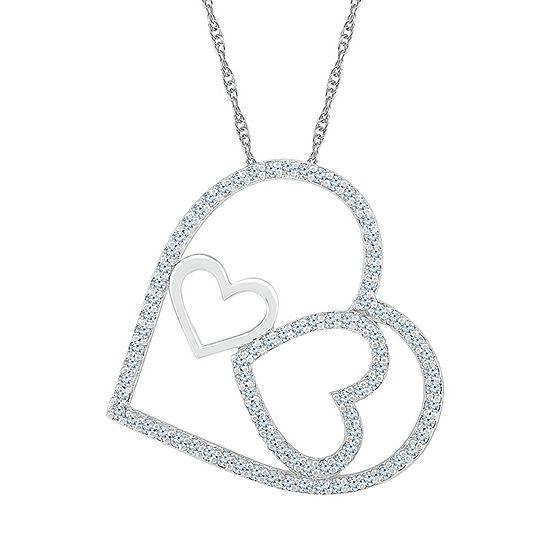 Womens 1/3 CT. T.W. Genuine White Diamond 10K White Gold Heart Pendant Necklace