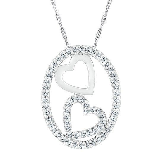 Womens 3/8 CT. T.W. Genuine White Diamond 10K White Gold Heart Pendant Necklace