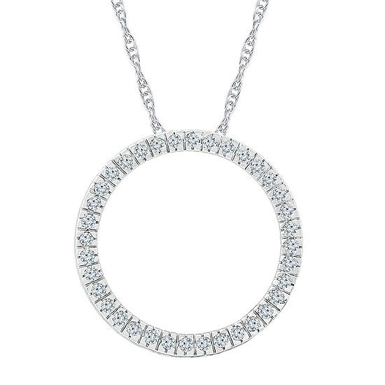 Womens 1/2 CT. T.W. Genuine White Diamond 10K White Gold Pendant Necklace