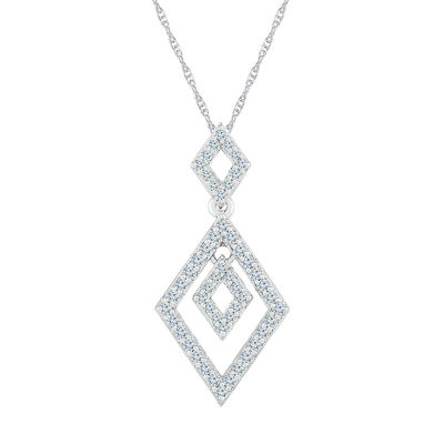 Womens 3/8 CT. T.W. Genuine White Diamond 10K White Gold Pendant Necklace