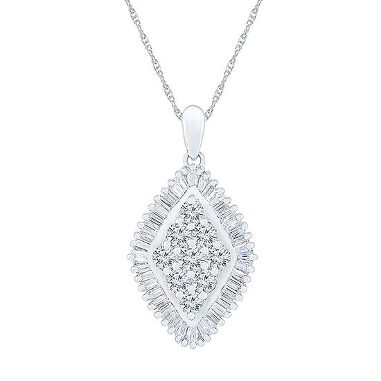Womens 1 CT. T.W. Genuine White Diamond 10K White Gold Pendant Necklace