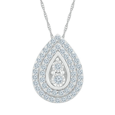 Womens 5/8 CT. T.W. Genuine White Diamond 10K White Gold Pendant Necklace