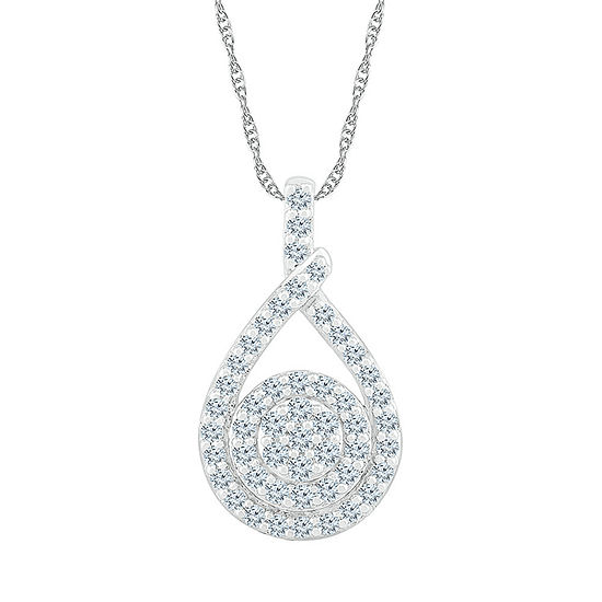 Womens 3/4 CT. T.W. Genuine White Diamond 10K White Gold Pendant Necklace