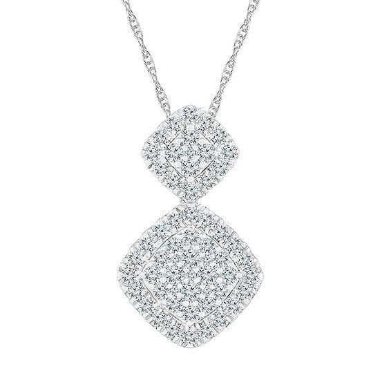 Womens 1 1/4 CT. T.W. Genuine White Diamond 10K White Gold Pendant Necklace