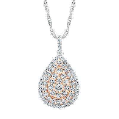 Womens 1 CT. T.W. Genuine White Diamond 10K Two Tone Gold Pendant Necklace
