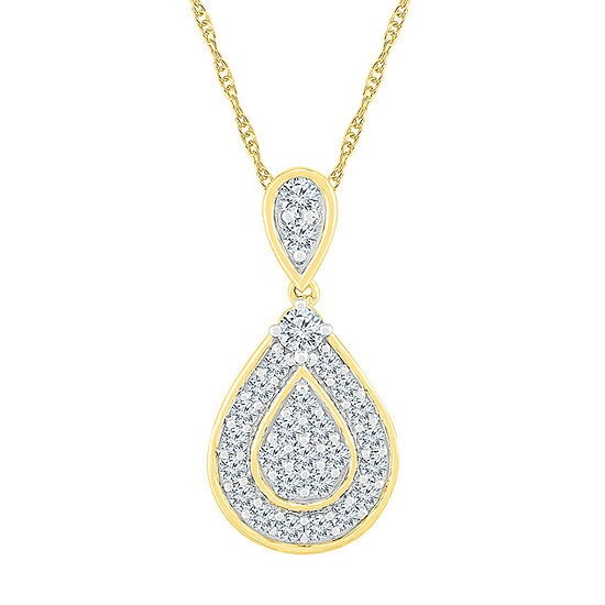 Womens 1 CT. T.W. Genuine White Diamond 10K Gold Pendant Necklace