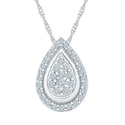 Womens 1/3 CT. T.W. Genuine White Diamond 10K White Gold Pendant Necklace