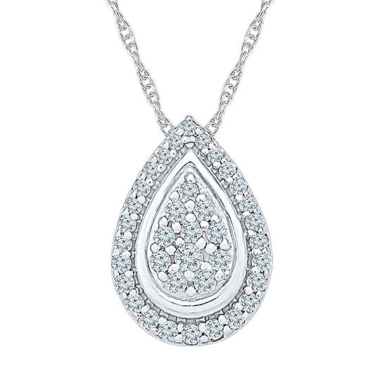 Womens 1/3 CT. T.W. Genuine White Diamond 10K White Gold Pendant Necklace