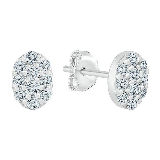 3/8 CT. T.W. Genuine White Diamond 10K White Gold 7.1mm Stud Earrings