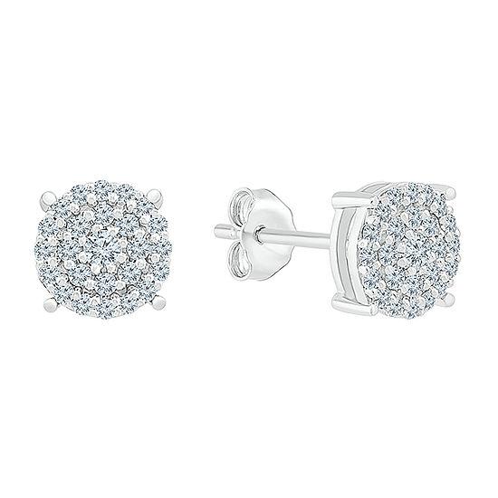 1/4 CT. T.W. Genuine White Diamond 10K White Gold 5.9mm Stud Earrings