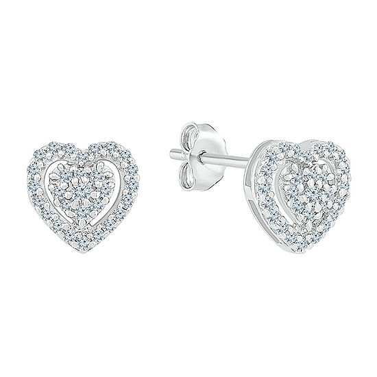 1/4 CT. T.W. Genuine White Diamond 10K White Gold 7.4mm Heart Stud Earrings