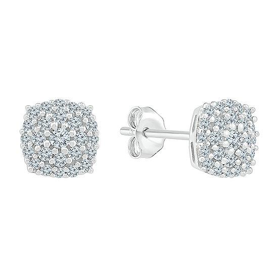 1/4 CT. T.W. Genuine White Diamond 10K White Gold 5.8mm Stud Earrings