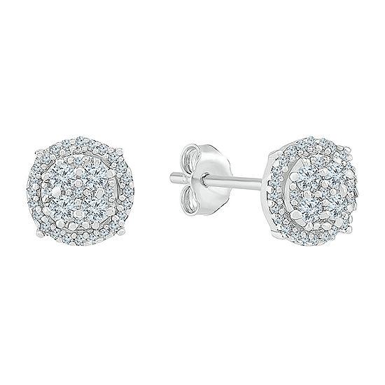 1/3 CT. T.W. Genuine White Diamond 10K White Gold 7.3mm Stud Earrings