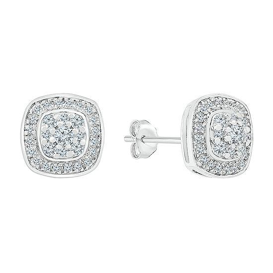 1/2 CT. T.W. Genuine White Diamond 10K White Gold 9.9mm Stud Earrings