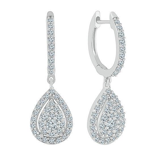 3/4 CT. T.W. Genuine White Diamond 10K White Gold Drop Earrings