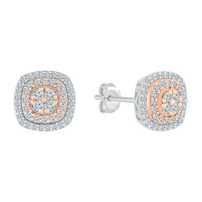 1 CT. T.W. Genuine White Diamond 10K Two Tone Gold 10.9mm Stud Earrings