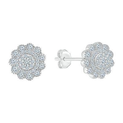 3/8 CT. T.W. Genuine White Diamond 10K White Gold 9.2mm Stud Earrings