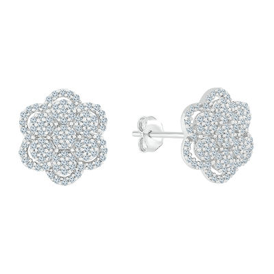 1/3 CT. T.W. Genuine White Diamond 10K White Gold 11.5mm Stud Earrings