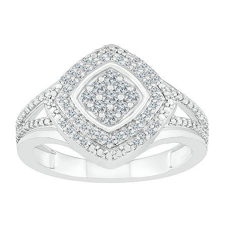Womens 1/4 CT. T.W. Genuine White Diamond 10K White Gold Cocktail Ring, 5
