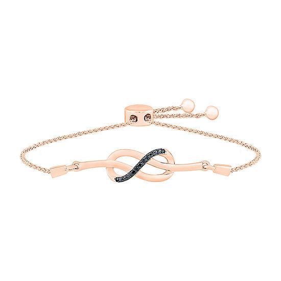 Diamond Accent Genuine Black Diamond 10K Rose Gold Infinity Bolo Bracelet