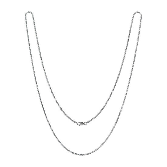 Made in Italy Sterling Silver 22 Inch Solid Box Chain Necklace