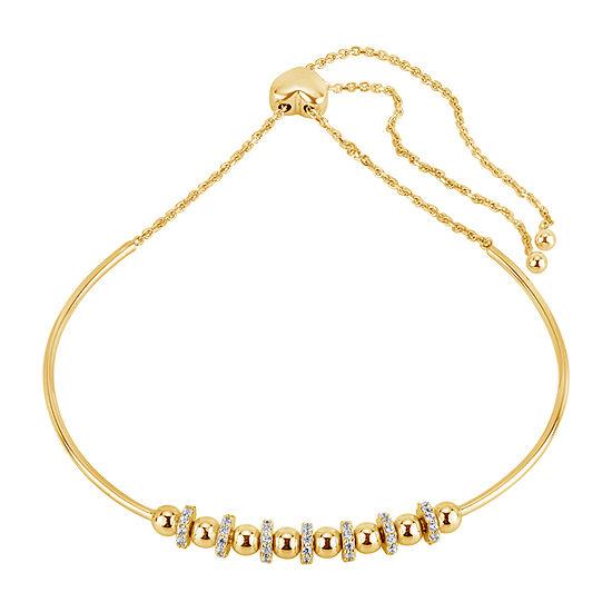 White Cubic Zirconia 18k Gold Over Silver Bolo Bracelet
