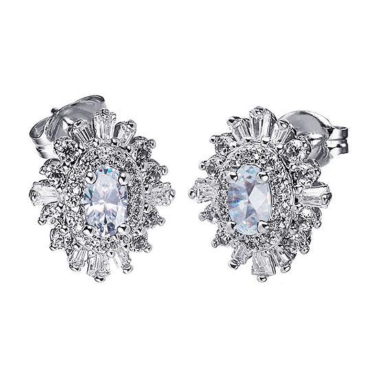 Diamonart Cubic Zirconia Sterling Silver 12.5mm Stud Earrings