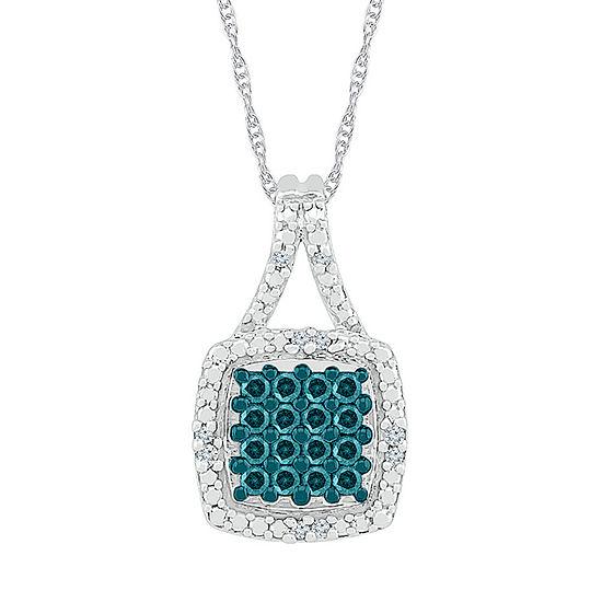 Womens 1/6 CT. T.W. Genuine Multi Color Diamond Sterling Silver Pendant Necklace
