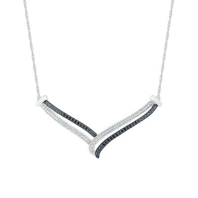 Womens 1/5 CT. T.W. Genuine Multi Color Diamond Sterling Silver Chevron Necklaces